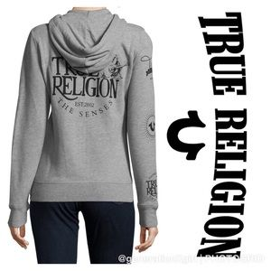 True Religion Grey Hoodie with Black Print